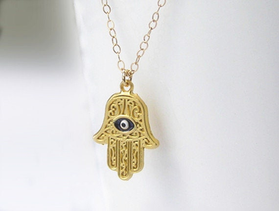 Gold hamsa hand evil eye necklace gold hamsa hand necklace