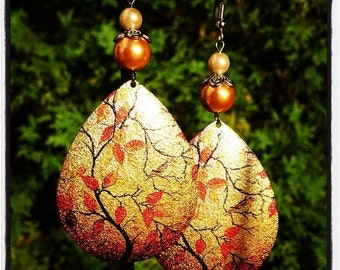 Autumn Branches Printed on Metal Earrings