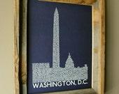 Washington DC Skyline Word Art Print (Dark Blue)