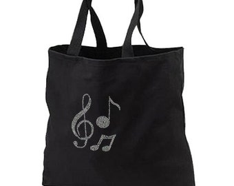 Rhinestone Music Notes Treble Clef New Black Cotton Tote Bag Books Gifts