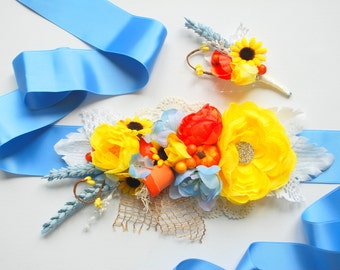 Blue Yellow Orange Weddings Bridal Sash, Yellow Orange Grooms Boutonniere, Maternity Belt, Country  Sunflower Pumpkin Wheat Rustic Wedding