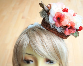 roses in the basket bridal headband, weddings hair accessories, headpiece, peach ivory, berry, head basket, garden party, shabby chic