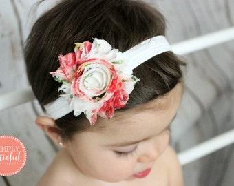 Shabby Chic Baby Headband, Vintage Baby Headband, Baby Headband, Toddler Headband, Girl Headband, Vintage Inspired