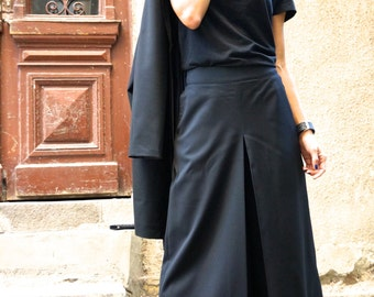 NEW Black Cold Wool Wide Leg 7/8  Pants / Extravagant High Waist Black Trousers by Aakasha A05147