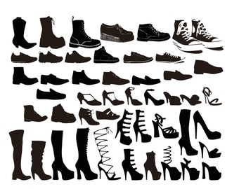 Shoe silhouette digital clipart vector eps png files Clip Art Images Instant Download