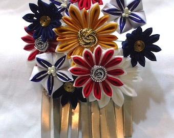 Modern kiku and bellflower hana kanzashi  - red, blue, white and amber.