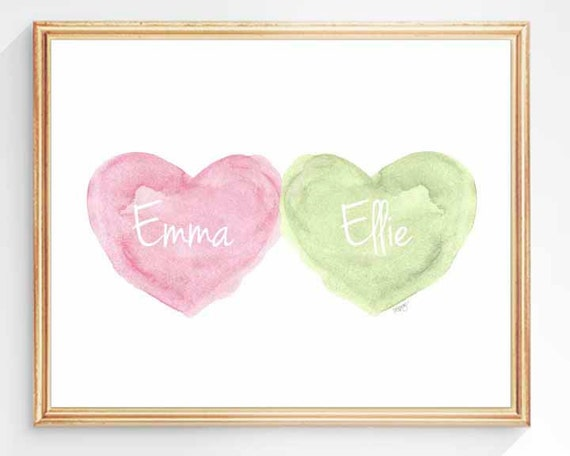 Pink and Green Sisters Nursery Print, 8x10 Personalized