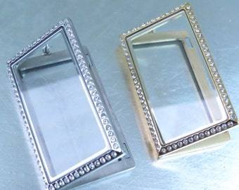 """1"""" X 2"""" Silver or Gold Stainless Rectangle Floating Pendant with rhinestones around the edge"""