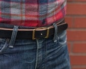 SALE // Men's Black Conway Leather Belt (fits sizes 30-36)
