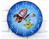 The Red Rocket and Green Alien Wall Clock Home Decor for Children Kid Boy Nursery Playroom