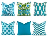 Turquoise Pillow Covers ANY SIZE You Choose Decorative Pillow Cover Turquoise Blue Pillows
