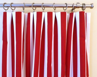 red and white patterned curtains by window canopy etsy