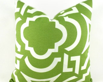 Indoor Outdoor Pillow Covers ANY SIZE Decorative Pillows Green Pillows Richloom Outdoor Carmody Kiwi