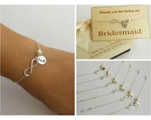 FREE SHIPPING. Set of 6 Personalized Sterling Silver Infinity Bracelets for Bridesmaids. Bridesmaids bracelet.