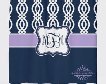 Trellis Shower Curtain - Navy and Lavendar Shower Curtain - Lattice Shower Curtain, Custom Monogrammed Curtain