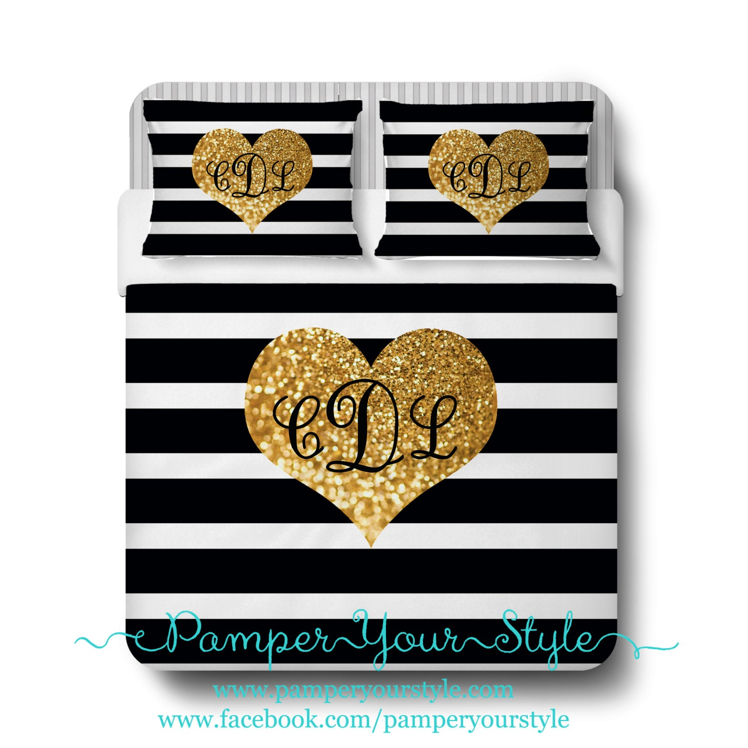 Black And White Striped Bedding With Gold Heart