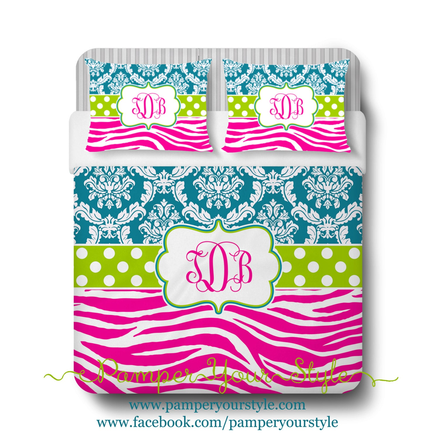 Lime Green And Pink Bedding: Damask And Zebra Comforter Or Duvet Teal Hot Pink And Lime