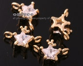 6pcs-9mmX6mmGold plated Brass cubic zirconia in brass setting Star with Crown Connectors(K739G)