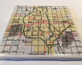 1983 Wichita Kansas Map Handmade Repurposed Vintage Map Coaster - Ceramic Tile Coaster Repurposed 1983 City Map Atlas OOAK Drink Coasters