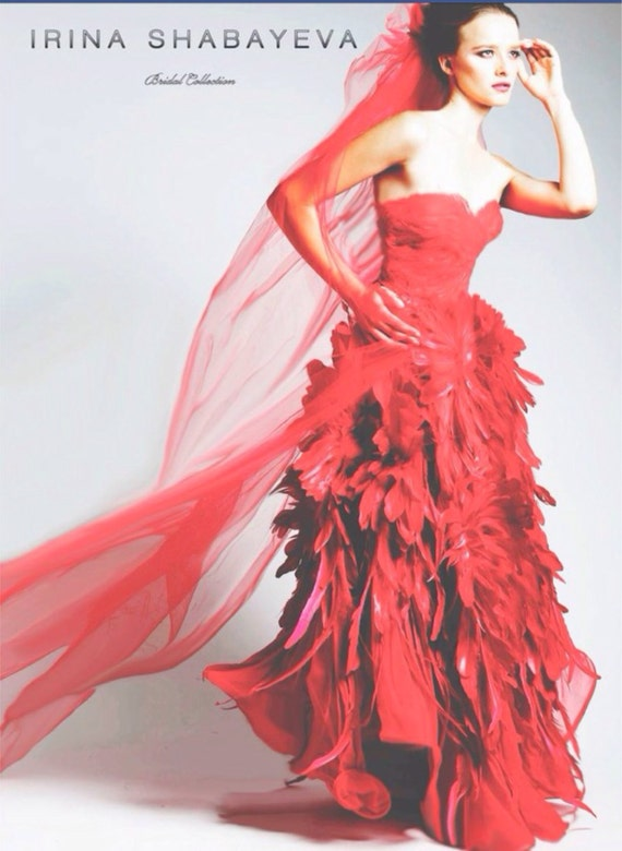 """IRINA SHABAYEVA COUTURE """" Red Flower of Paradise"""" chiffon/feather gown."""