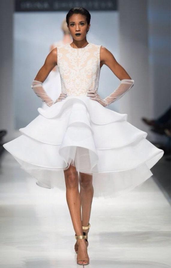 SAMPLE SALE size 2/4 Irina Shabayeva white lace applique three tiered dress.
