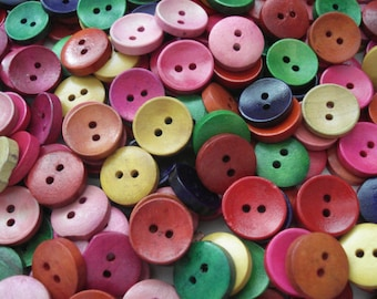 15mm Mixed Earthy Colour Wood Buttons pack of 25 Plain Wood Buttons W1529