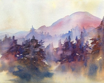 Mountain Forest Trees Landscape Original Watercolor Painting  11 x 15  Fog, Pink Yellow Purple Plum, Mt. Rainier FOG on the MOUNTAIN at DAWN
