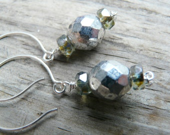 Silver and Lustrous Green Drop Earrings.  Gift for Her
