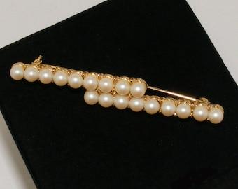 Vintage Faux Pearl Double Bar Brooch