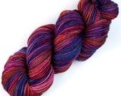 Rockshelter Sock: 112 Hildegard von Bingen - 100% Superwash Merino Handpainted Fingering Wt Yarn - pink purple fuchsia blue indigo orange