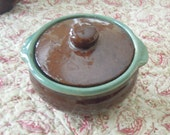 Vintage Small Ceramic Soup / Casserole with Lid / Farmhouse Country Style / Country Fare / Mid Century / Covered Casserole