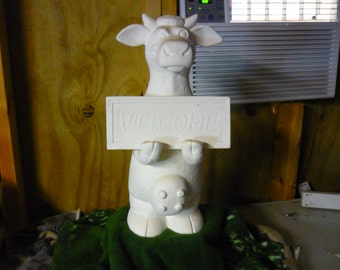 Ready to Paint Ceramic Standing cow with sign