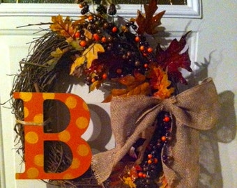 Natural Fall Wreath with Burlap Bow and Monogram