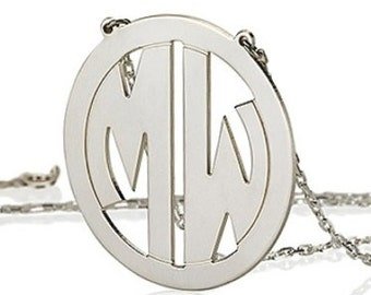 Monogram necklace - 1.5 inch Personalized Monogram - 925 Sterling silver Block Font