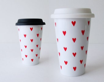 Travel Mug with Red Heart Pattern original design, Hand painted Travel Mug, Eco-friendly Cup, Thermal Double-wall Porcelain, Custom mug