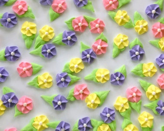 Pink, Purple and Yellow Royal Icing Flowers (60)