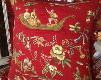 Red Chinoiserie Pillow with Boat and Pagoda