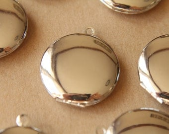 3 pc. Silver Plated Round Lockets 25mm x 28mm | LOC-036