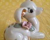 Fawn Deer Gilt China Figurine  Rosebud Rose Bambi Made in Japan by Thames