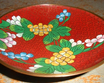 Vintage Bowl, Cloisonne, Brass, Enamel, Floral, Brass Bowl, Brass Dish, Brass Plate, Asian Decor