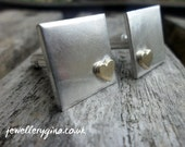 Brushed silver cufflinks with solid gold heart. Gold heart cufflinks.