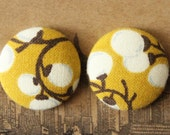 Wholesale Button Earrings / Fabric Covered / Chartreuse / Bulk Jewelry / Stud Earrings / Pussy Willow / Small Gifts