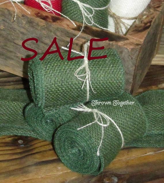 Sale burlap ribbon 102 dark green burlap 3 1 2in for Green burlap ribbon