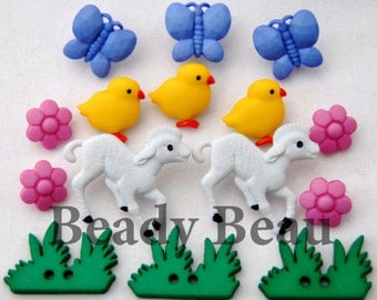 Novelty easter my little chickadee mixed buttons with shank back for crafts & scrapbooking