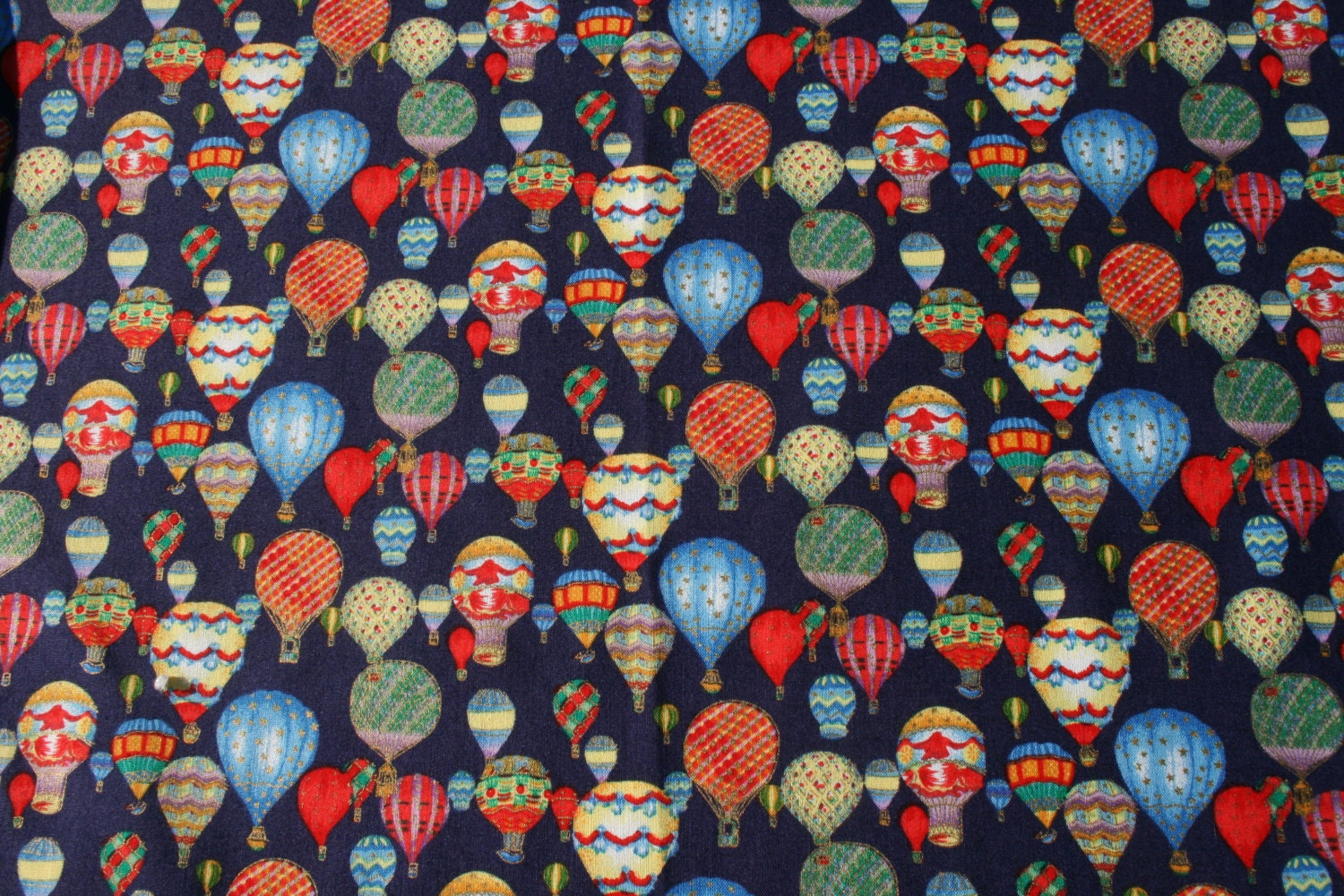 Hot air balloon vintage cotton sewing fabric primary colors for Airplane print cotton fabric