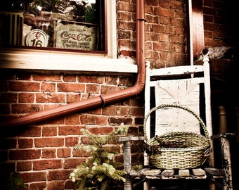 Rustic, Rural Rocking Chair Against Brick Wall - Jonesborough, Tennessee - Southern USA - Home Decor Photography