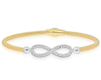 Sterling Silver Gold Plated with Infinity CZ Bangle - AZDEB-117YDZ