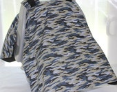 Car Seat Canopy - Blue, Tan and Black Camouflage