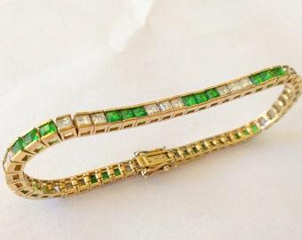 Vintage Emerald and CZ Princess Cut Vermeil Sterling Silver Tennis Bracelet