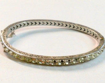 Vintage Art Deco Sterling Bangle Bracelet with Square Cut Rhinestones